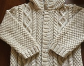 Boy's 100% Pure Cashmere Wheat colour Hooded Aran Style Jacket / Sweater for Age 2-3 years  Hand Knitted in Scotland.