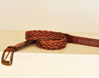 Vintage Adjustable Braided Brown Leather Belt Size ML 36 Belt Leather Vintage Brass Buckle Made in Argentina
