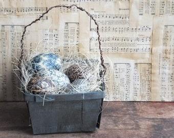 Primitive Blue Easter Egg Basket, Egg Bowl Fillers, Farmhouse Spring Decor