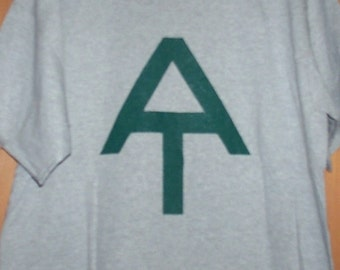 Hand screen printed Appalachian Trail T-Shirt forest green on Sports gray