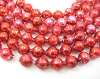 Vintage 1950s Red Mercury Glass Bead Garland: Christmas Tree Garland, 100 Inches Beads