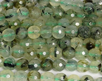 Prehnite 6mm Round Faceted beads in Misty Green- 15.5 inch strand