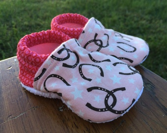 Baby Shoes for Girls - Pink Horseshoe Fabric with Stars and Goemetric Print - Custom Sizes 0-24 months - 2T-4T
