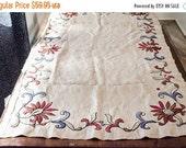 ON SALE Vintage Ecru colored Linen Table Runner / Rectangular Tablecloth