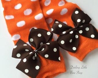 Newborn Thanksgiving Leg Warmers -- Bow Leg Warmers -- orange with brown polka dot for Newborns -- choose newborn or regular size