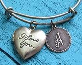 valentines day gift I love you bracelet, heart locket bracelet, romantic gift, gift for her, antique brass bracelet, i love you jewelry