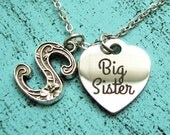 big sister gift, big sister necklace, personalized gift for sister, birthday gift, sister jewelry, big sis, announcement, long necklace,