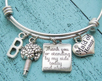 maid of honor gift, bridesmaid gift, matron of honor, personalized wedding gift, maid of honor jewelry bracelet, bridal gift ideas under 30