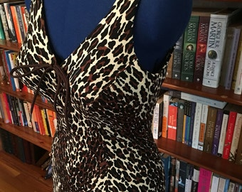 COLE of CALIFORNIA-- 1950s Leopard Lace Up Swimsuit Bathing Suit