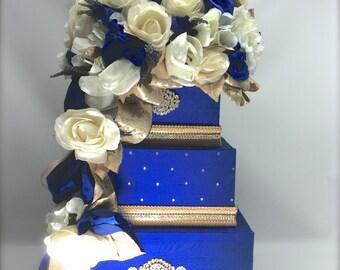 Wedding Card Box Royal Blue Hawaiian Gold and Diamond Wedding Card Box Secured Lock Wedding Card Box Diamond Wedding Card Box Gold Wedding
