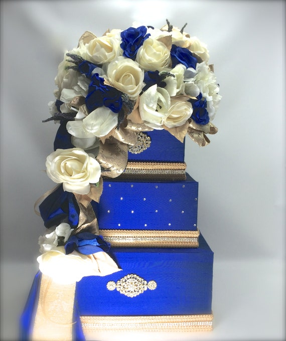 white gold and royal blue wedding cake wedding card box royal blue hawaiian gold and wedding 27292