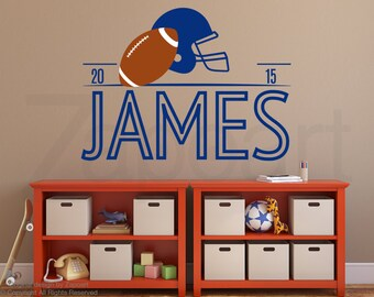 Football Decor - Boys Name Wall Decal - Wall Decor - Sports Wall Decor Personalized Name Decal Vinyl Wall Decal