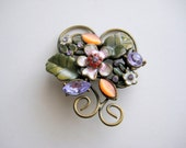 Vintag Brass Brooch Rhinestones and Enamel with Flowers, Leaves, and Heart