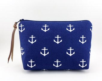 Small Cosmetic Bag, Nautical Anchor, Zipper Pouch, Accessory Bag, Notions Pouch, Gift for her, Padded