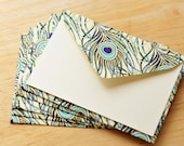 Peacock Feather Mini Cards, Set of 5, Blank Cards, Enclosure Cards, Advice Cardm, Scrapbooking, Gift Card Envelopes, Journaling Cards