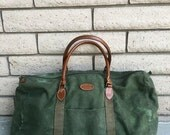 ON SALE 80s Green Canvas Duffel Bag by Gitano