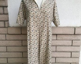 50s 60s Asian Peacock Print Kimono Jacket REVERSIBLE Size XS-S