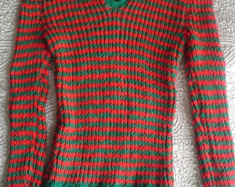 Vintage hand knitted 70s ribbed striped sweater red green S
