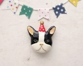 Party French bulldog Polymer Clay Magnet(black and white)