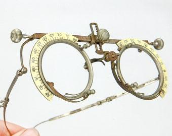 Optical Test Eyeglasses, 1930's, medical equipment, Adjustable, bakelite type material, metal, vintage optical, steampunk