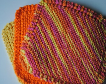 Set of 3 Cotton Dish Cloths, Yellow Orange and Pinks, 100% cotton, biodegradable, green, environmentally friendly