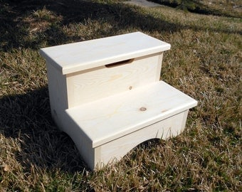 Storage Box Step Stool Unfinshed 12""