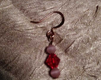 Small But Mighty: Handmade Earring Featuring Small Pink and Purple Glass Beads