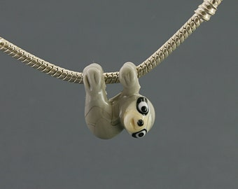 Sloth necklace glass charm pendant jewelry bead lampwork   Glass bead, sloth  pendant european bracelet big hole beads  BHB bead