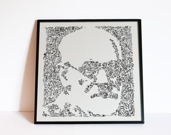 Sigmund Freud - drawing of the psy with Biographical detail in the portrait - Ltd Edition of 100 prints
