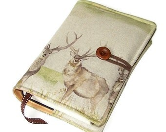 Fabric Book Cover, King Stag, Handmade Bible Cover Linen Cotton fabric, UK Seller, Suitable for Hardback or Paperback Books