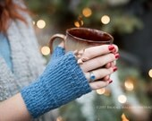 Monday Sunday Fingerless Gloves - Hand knit fingerless texting gloves: Blueberry Blue