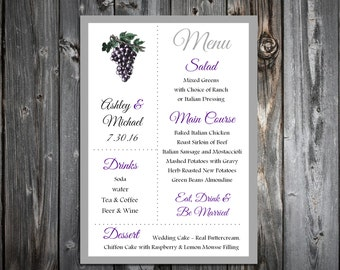 Wine Grapes Rustic Vineyard  Menus. 100 Personalized and Printed Wedding Menu Cards.  Dinner Reception.  Food Choices.