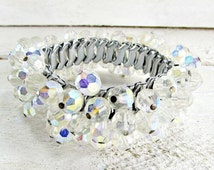 Vintage AB Crystal Bracelet, Clear Crystal Bead Bracelet, Crystal Cha Cha Bracelet, Expansion Bracelet, 1950s Vintage Costume Jewelry