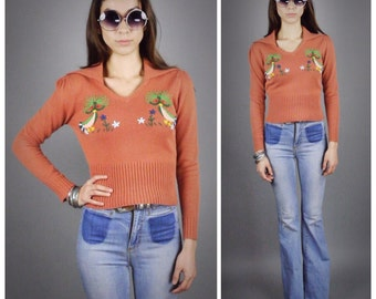 70s Embroidered Knit Ethnic Ribbed Sweater