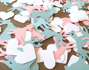 Buck or Doe Baby Shower Decorations - Buck or Doe Confetti - Gender Reveal confetti - Buck and Doe table scatter Custom Colors