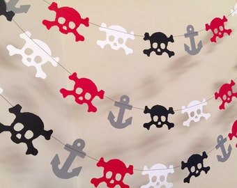 Pirate Birthday Decorations / 10ft Pirate Garland / Skulls and Anchors Garland / Pirate Birthday Decorations / Pirate Party