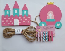 Princess Castle and Carriage Child's Art Display Hanger, Kids Artwork Display, Card Display, Art Display Line, Photo Display