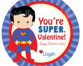 PRINTABLE,  Superhero Superman Valentine Favor Tags