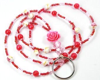 PINK ROSE- Beaded badge holder, Beaded lanyard, Rose lanyard