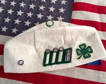 Vintage 4H Club White Wool Beannie Cap Junior Leader California 1949 29th Annual 4H Club Convention with Pins