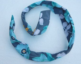 Teal and gray floral wired hair accessory headband