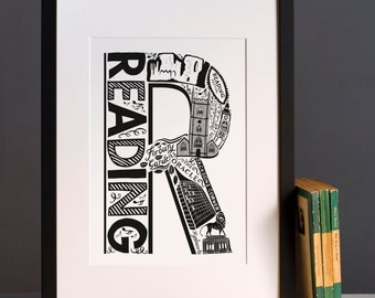 Reading city print or greeting card