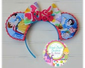 """Sweet Snow White & Prince Charming Mouse Ears with Valentine Bow and """"KISS"""" Feltie!!"""
