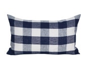 Key West Check lumbar pillow cover in Navy