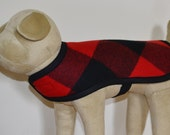 Dog Coat - RESERVED for GRETA handmade of Wool fabric dog jacket buffalo plaid check WITH Harness Buttonhole