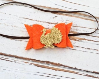 Thanksgiving Bow Headband - Orange Bow Headband - Felt Bow Headband - Thanksgiving Baby Bow - Turkey Bow Headband