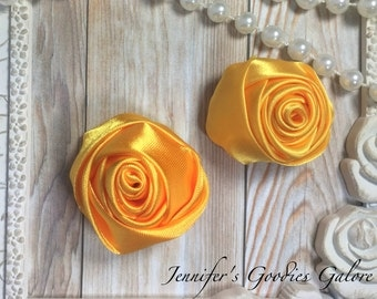 "Set of TWO Golden Yellow 2"" Satin Rosette Flower Heads, Rolled Roses Wholesale Mini Rosettes for Baby Headbands"