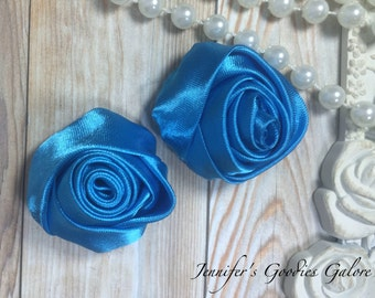 "Set of TWO Turquoise Blue 2"" Satin Rosette Flower Heads, Rolled Roses Wholesale Mini Rosettes for Baby Headbands"