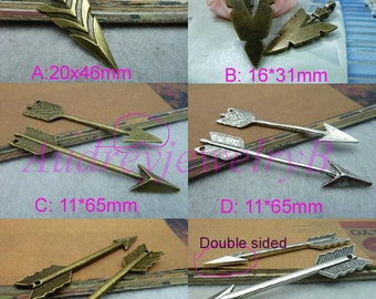 20pcs Antique Silver / Antique Bronze arrow sword & 3D Filigree Bow And Arrow Charm Pendant