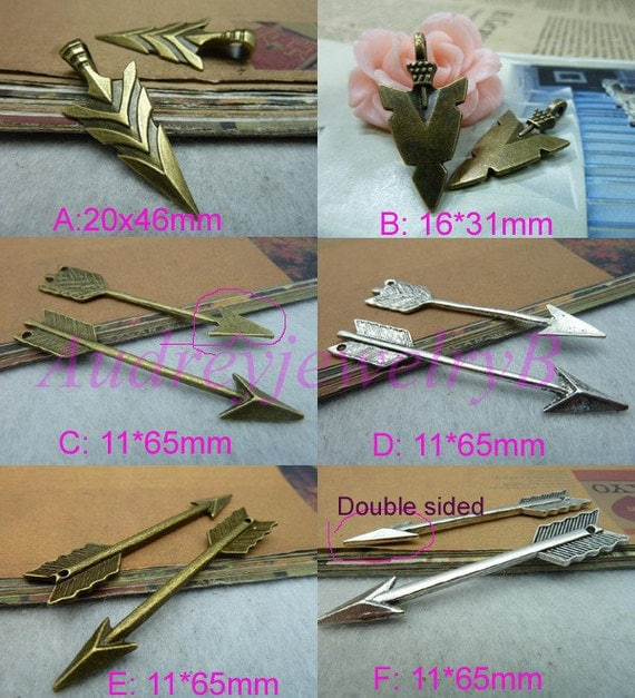 20pcs Antique Silver / Antique Bronze arrow sword & 3D Filigree Bow And Arrow Charm Pendant